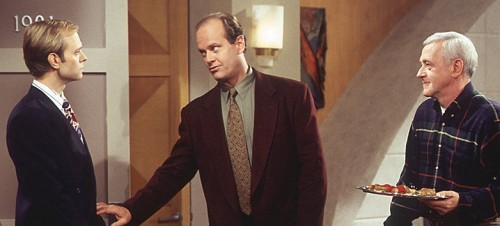 "FRASIER -- ""Sleeping with the Enemy"" Epsiode 6 -- Pictured: (l-r) David Hyde Pierce as Dr. Miles Crane, Kelsey Grammer as Dr. Frasier Crane, John Mahoney as Martin Crane  (Photo by Gary Null/NBC/NBCU Photo Bank via Getty Images)"